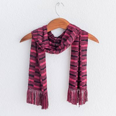 Rayon chenille scarf, 'Magenta Nights' - Backstrap Rayon Chenille Handmade Scarf in Magenta and Black