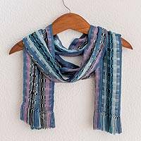 Rayon chenille scarf, 'Blue Nights' - Guatemalan Rayon Chenille Scarf Hand Woven in Shades of Blue