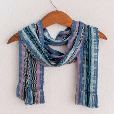 Rayon chenille scarf, Blue Nights