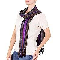 Cotton scarf, 'Many Colors' - Colorful Handwoven Cotton Striped Scarf from Guatemala