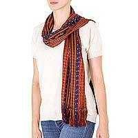 Cotton scarf, 'Many Roads' - Red and Brown Backstrap Cotton Scarf with Blue and Yellow