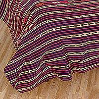 Cotton bedspread, 'Solola Skies' (twin) - Fair Trade Cotton Bedspread Quilt Woven by Hand (Twin)