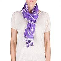 Cotton scarf, 'Solola Lilacs' - Backstrap Loom Lilac Cotton Scarf with Organic Dyes