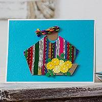 Greeting cards, 'Blue Maya Flowers' (set of 4) - Set of 4 Blue Greeting Cards with Maya Weaving Insets