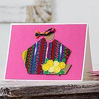 Greeting cards, 'Pink Maya Flowers' (set of 4) - 4 All Occasion Pink Greeting Cards with Maya Weaving Insets