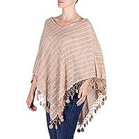 Cotton poncho, 'Jaibalito Cocoa' - Guatemala Backstrap Loom Undyed Brown Cotton Poncho