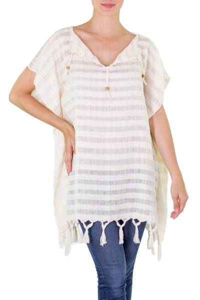 Cotton caftan, 'La Libertad' - Artisan Crafted Cotton Caftan with Pinewood Beads