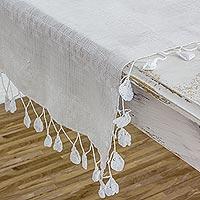 Cotton table runner, 'Pic Bil Stars' - Star Motif Pic Bil Handwoven White Cotton Table Runner
