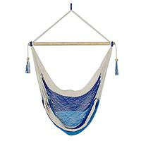 Cotton hammock swing, 'Sea Mist' - Nicaraguan Blue Cotton Hammock Swing with White Trim