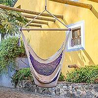 Cotton hammock swing, 'Purple Paradise' - Handwoven Purple Cotton Nicaraguan Hammock Swing