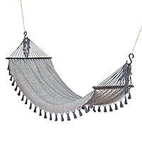 Cotton hammock, 'Take Me to Infinity' (single) - Guatemala Handwoven Grey Cotton Hammock (Single)