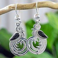 Black jade dangle earrings, 'Quetzal Beauty' - Sterling Silver and Black Jade Earrings of Quetzal Bird