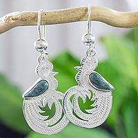 Light green jade dangle earrings, 'Quetzal Beauty' - Guatemalan Jade on Hand Made Sterling Silver Bird Earrings