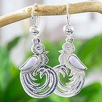 Lilac jade dangle earrings, 'Quetzal Beauty' - Sterling Silver Bird Jewelry Earrings with Lilac Jade Wing