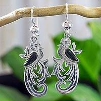 Black jade dangle earrings, 'Forest Quetzal' - Sterling Silver Quetzal Earrings with Black Jade Jewelry