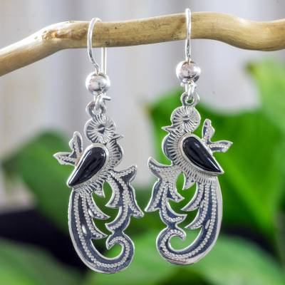 Black jade dangle earrings, Forest Quetzal