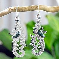 Dark green jade dangle earrings, 'Forest Quetzal' - Dark Green Jade on Handmade Sterling Silver Bird Earrings