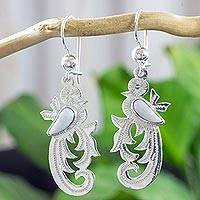 Lilac jade dangle earrings, 'Forest Quetzal' - Sterling Silver and Lilac Jade Earrings of Quetzal Bird