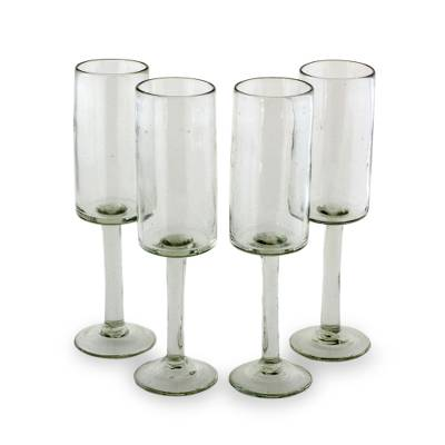 Blown glass flutes, 'Party Quetzal' (set of 4) - Clear Hand-blown Glass Flute Wine Glasses (Set of 4)