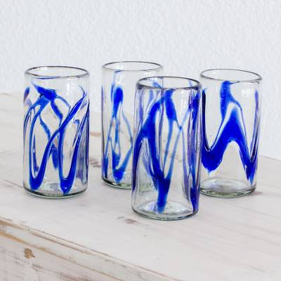 Blown glass tumblers, 'Capricious Cobalt' (set of 4) - 11 oz Blue Tumbler Glasses Hand Blown Glass Art (Set of 4)