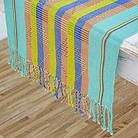 Cotton table runner, 'Diamond Poem in Aqua' - Cotton Hand Woven Table Runner with Natural Dye Colors