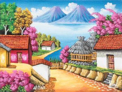 'Morning in Atitlan' - Colorful Oil Painting of a Guatemalan Town