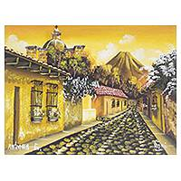'Sunset in Antigua Guatemala' - Guatemala Signed Oil on Canvas Painting in Yellows