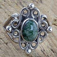 Jade cocktail ring, 'Maya Majesty' - Sterling Silver Cocktail Ring with Light Green Jade