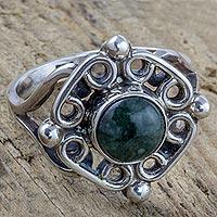Jade cocktail ring, 'Maya Cardinal Points'