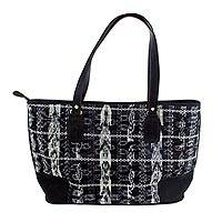 Leather accent cotton shoulder bag, 'Black Maya Jaspe' - Handwoven Black Cotton and Silver Shoulder Bag with Leather