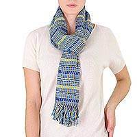 Cotton scarf, 'Atitlan Sunshine' - Backstrap Loom Organic Dye Blue and Yellow Cotton Scarf