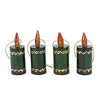 Wood ornaments, 'Green Candles' (set of 4) - Artisan Crafted 4 Piece Set of Christmas Candle Ornaments