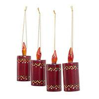 Reclaimed wood ornaments, 'Crimson Candles' (set of 4) - Artisan Crafted 4 Piece Set of Christmas Candle Ornaments