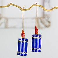 Reclaimed wood ornaments, 'Blue Candles' (set of 4) - Hand Crafted Cypress Wood Candle Ornaments