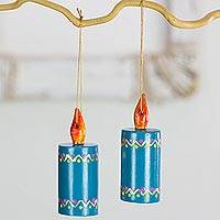 Reclaimed wood ornaments, 'Turquoise Candles' (set of 4) - Artisan Crafted Wood Candle Ornaments from Guatemala