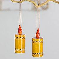 Reclaimed wood ornaments, 'Yellow Candles' (set of 4) - Hand Crafted Wood Candle Ornaments from Guatemala (Set of 4)