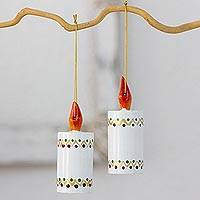 Reclaimed wood ornaments, 'White Candles' (set of 4) - Artisan Crafted 4 Piece Set of Christmas Candle Ornaments