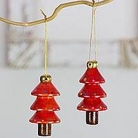 Reclaimed wood ornaments, 'Festive Red Christmas Trees' (set of 4) - Four Christmas Tree Shaped Ornaments Crafted by Hand