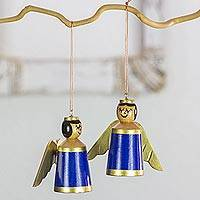 Wood ornaments, 'Little Angels in Blue' (set of 4) - 4 Angels Tree Ornaments Hand Crafted with Reclaimed Wood