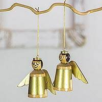 Wood ornaments, 'Little Golden Angels' (set of 4) - 4 Golden Angels Ornaments Hand Crafted with Reclaimed Wood