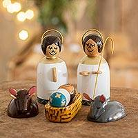 Wood nativity scene, Holy Family in White (6 pieces) - Guatemala Petite Nativity Scene in Reclaimed Wood 6 Pieces