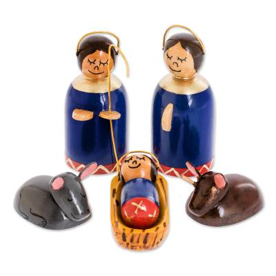 Wood nativity scene, 'Holy Family in Royal Blue' (6 pieces) - 6 Piece Artisan Crafted Wood Nativity Scene in Royal Blue