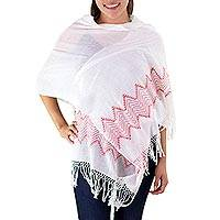 Cotton shawl, 'Red Mountain Roads' - Maya Handwoven Sheer White Cotton Shawl with Red Borders
