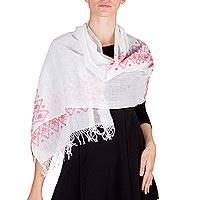 Cotton shawl, 'Starlight in Scarlet' - Guatemalan Handwoven Sheer White and Red Trim Cotton Shawl