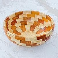 Mahogany wood bowl, 'Stairway of Nature' - Artisan Crafted Natural Mahogany Palo Blanco Wood Bowl