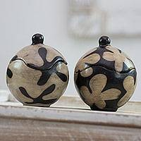 Ceramic jars, 'Black and White Blossoms' (pair) - Two Black and White Ceramic Lidded Jars from Honduras