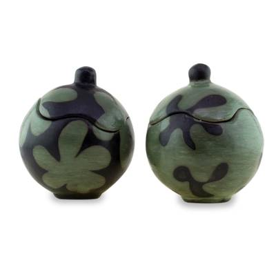 Two Round Honduran Ceramic Lidded Jars in Green and Black