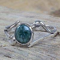 Jade cocktail ring, 'Maya Symmetry' - Guatemalan Jade on Sterling Silver Cocktail Ring