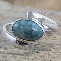 Jade cocktail ring, 'Cradle Me' - Asymmetrical Silver Ring Handcrafted with Green Maya Jade