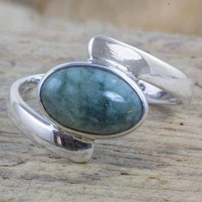 Asymmetrical Silver Ring Handcrafted with Green Maya Jade